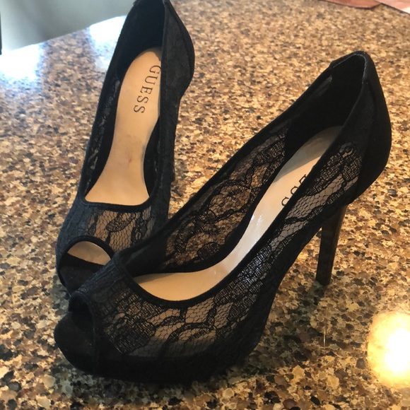 Guess Shoes - Gorgeous black lace peep toe heels